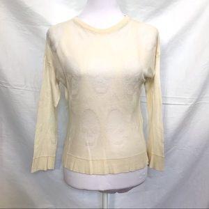 Brandy Melville ivory skull knit crewneck sweater